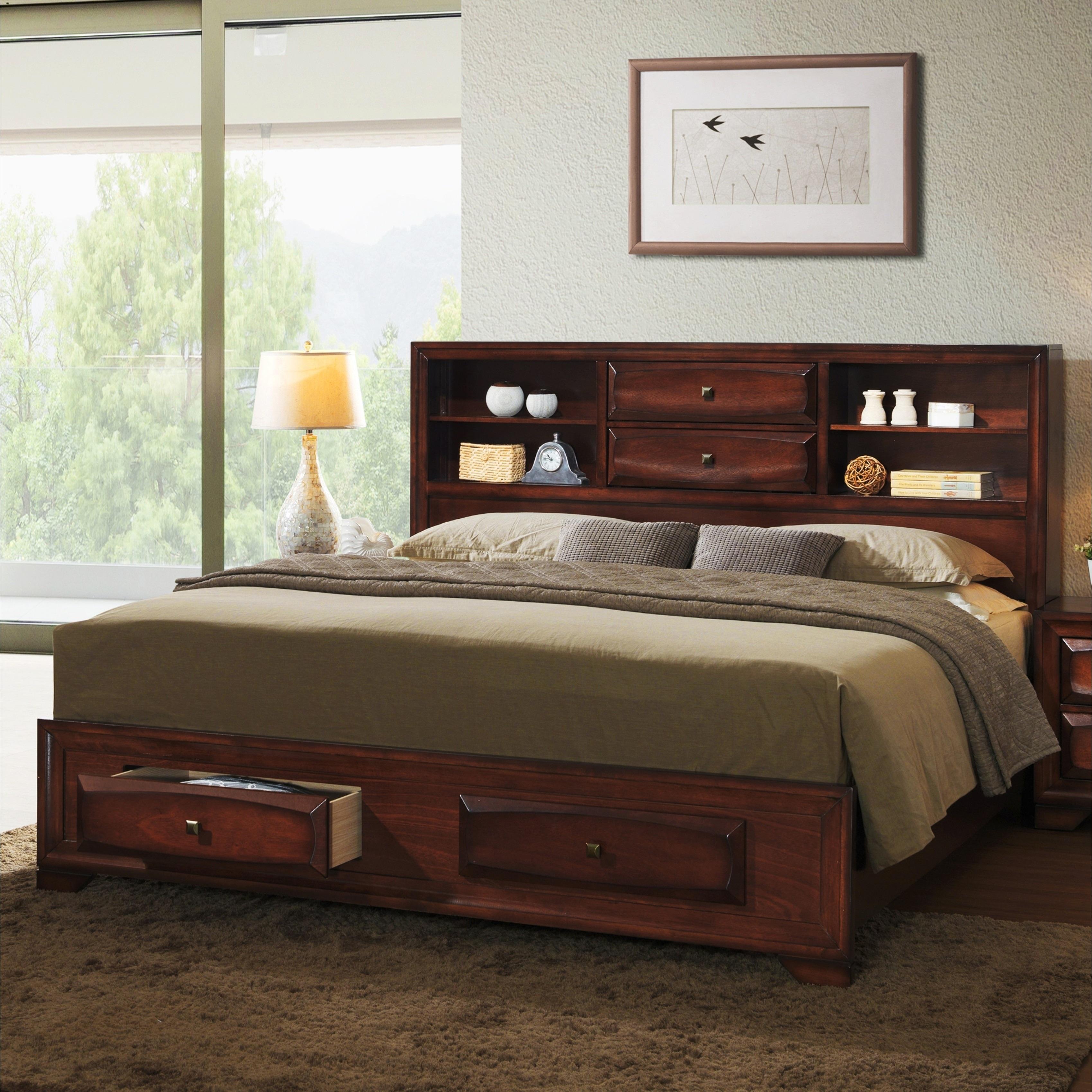 Asger Antique Oak Wood Queen-size Storage Platform Bed (Q...