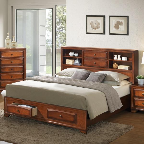 shop asger antique oak wood king size storage platform bed free shipping today. Black Bedroom Furniture Sets. Home Design Ideas