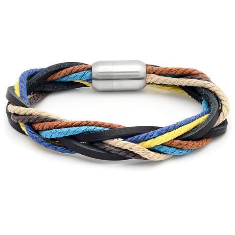 Men's Intertwined Multicolor Leather Bracelet
