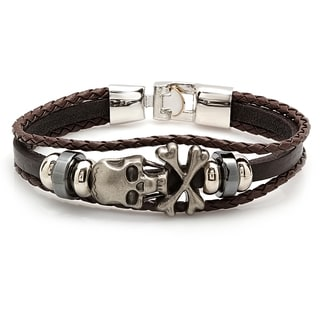 Brown Leather/Stainless Steel 6-inch Skull and Crossbones Bracelet