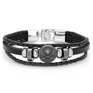 Black/Silver Leather Alien and Swords Toggle Bracelet