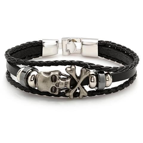 Men's Black Leather Bracelet with Stainless Steel Skull and Crossbones