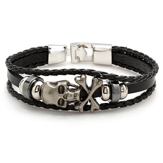 Men's Black Leather Bracelet With Stainless Steel Skull and Crossbones