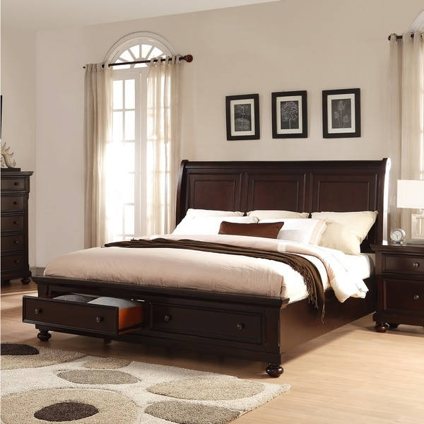 brishland rustic cherry wooden queen size storage bed free shipping today. Black Bedroom Furniture Sets. Home Design Ideas