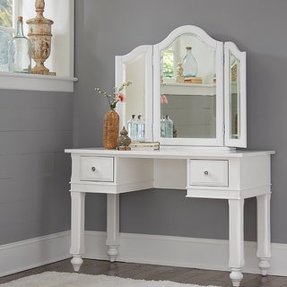 Lake House White Writing Desk with Vanity Mirror and Chair