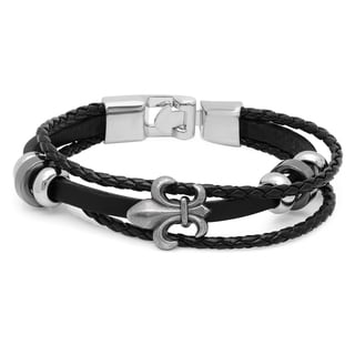 Black Leather Fleur-de-lis Two-tone Bracelet