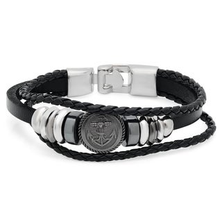 Men's Black Leather and Stainless Steel Anchor Medallion Bracelet