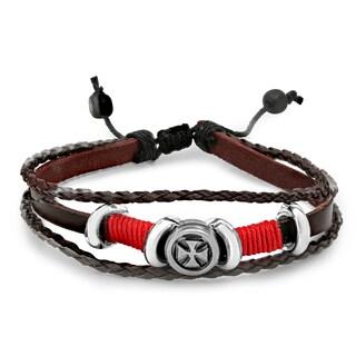 Men's Leather and Stainless Steel Cross Medallion Bracelet