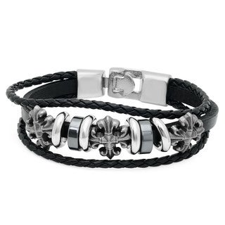 Men's Black Leather and Stainless Steel Gothic Cross Bracelet
