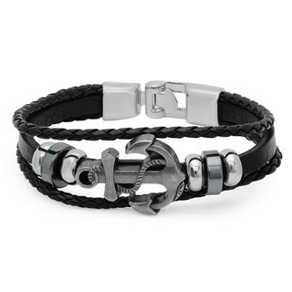 Black/White Leather/Metal Anchor Bracelet