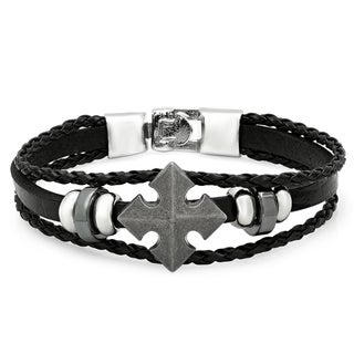 Men's Black Leather Cross Bracelet
