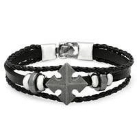 Men's Black Leather Cross Bracelet