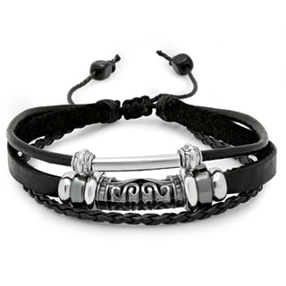 Black Leather and Silvertoned Accented Bracelet