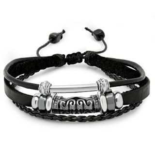 Steeltime Men's Black Leather and Stainless Steel Accented Bracelet