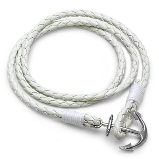 White Leather Wrap Anchor Bracelet