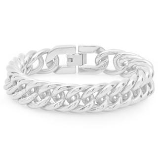 Men's Silvertone Stainless Steel Link Bracelet