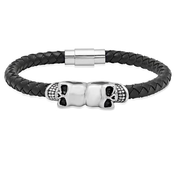 c71224a06d612 Shop Steeltime Men's Black Leather Stainless Steel Skull Bracelet ...