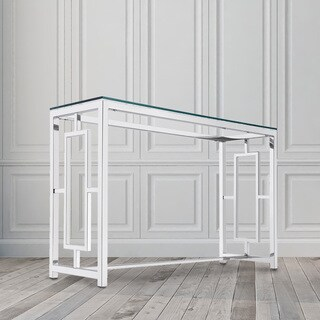 Zuri Contemporary Metal and Glass Rectangle Console Table
