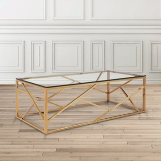 Calypso Goldtone Finish Steel Glass-top Coffee Table