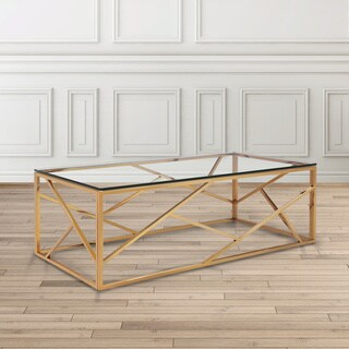 Calypso Gold Metal and Glass Rectangle Coffee Table