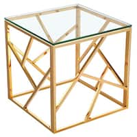 Calypso Gold Metal and Glass Square End Table