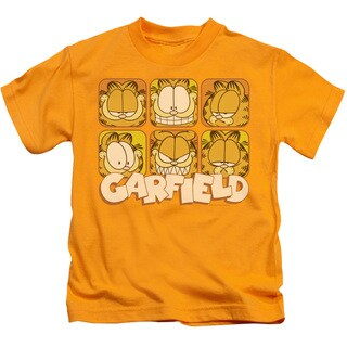 Garfield/Many Faces Short Sleeve Juvenile Graphic T-Shirt in Gold
