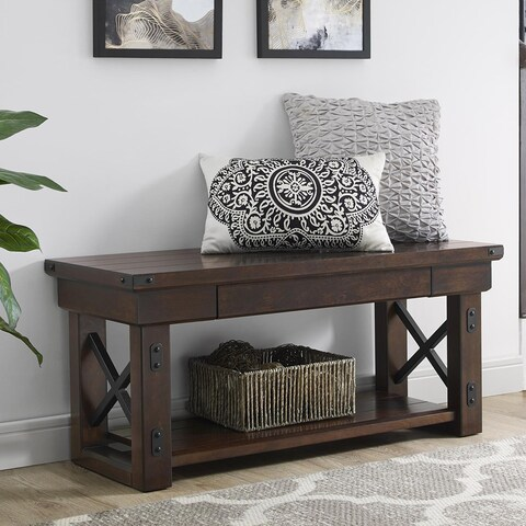 The Gray Barn Latigo Mahogany Veneer Console Bench