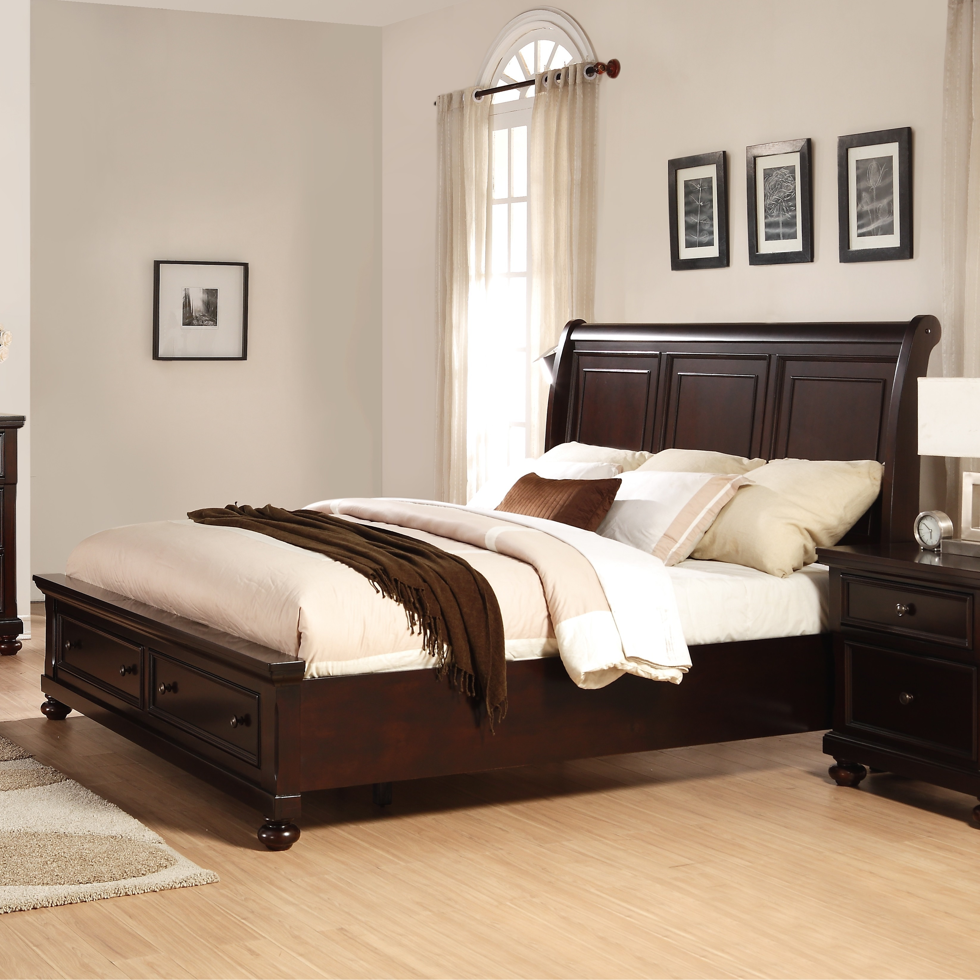 Picture of: Brishland Rustic Cherry King Size Storage Bed Overstock 12546382