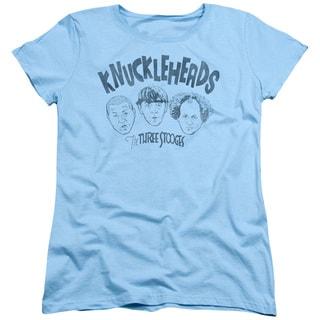 Three Stooges/Knuckleheads Short Sleeve Women's Tee in Light Blue