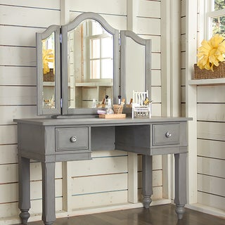 Lake House Writing Desk With Vanity Mirror & Chair Stone