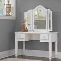 NE KIds Lake House White Writing Desk with Vanity Mirror