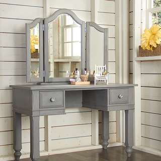 NE Kids Lake House Stone Wooden Writing Desk With Vanity Mirror