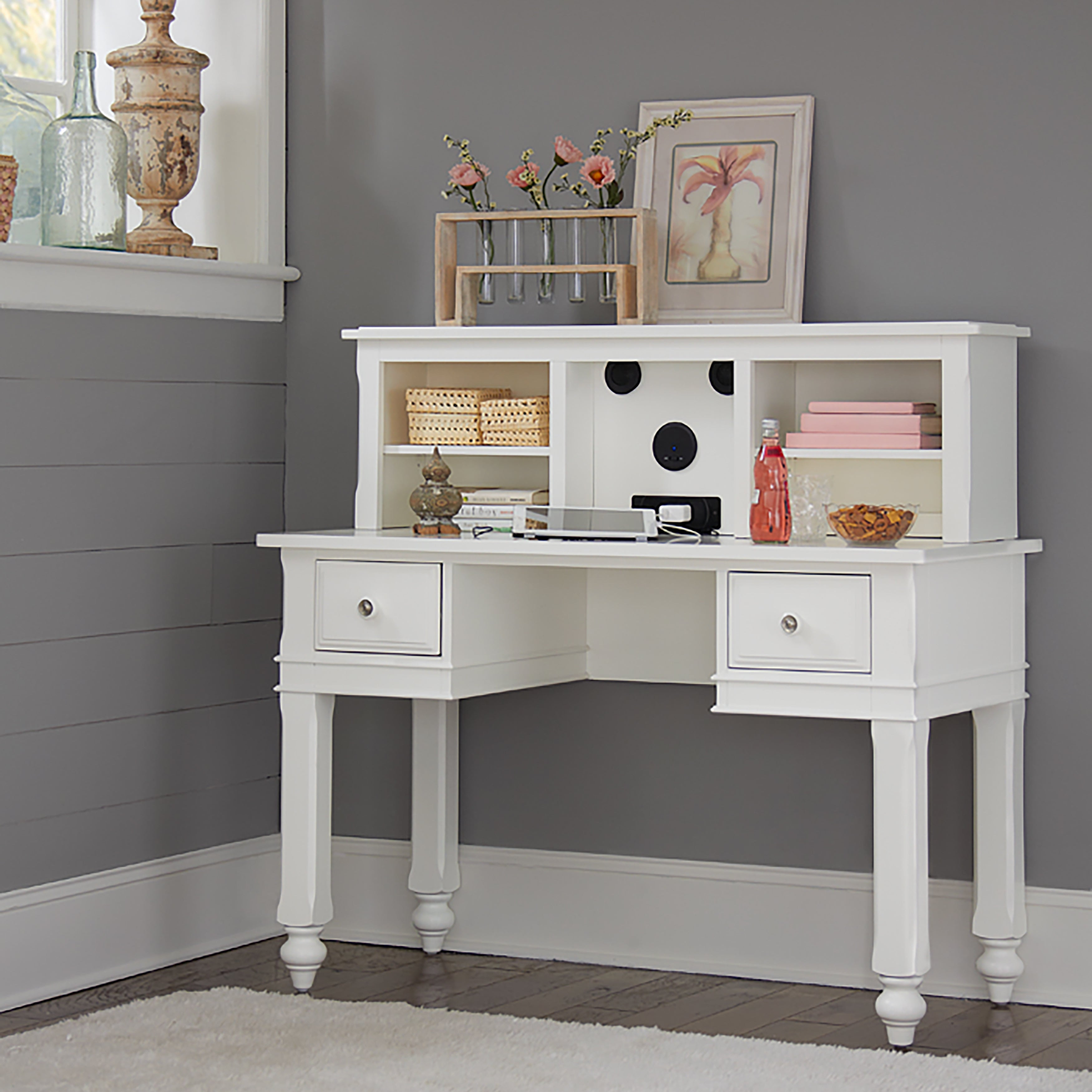 Lake House White Wood Writing Desk with Hutch and Chair (Writing Desk w/ Hutch & Chair White)