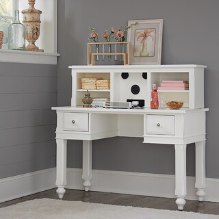 Lake House White Wood Writing Desk with Hutch and Chair