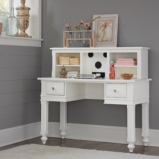 Lake House White Wood Writing Desk With Hutch