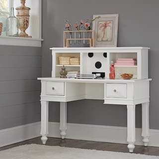 Lake House White Wood Writing Desk With Hutch|https://ak1.ostkcdn.com/images/products/12546478/P19348850.jpg?impolicy=medium