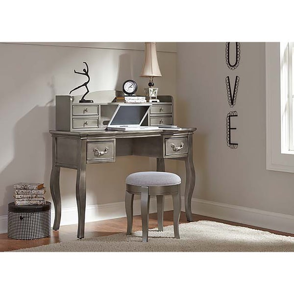 NE Kids Kensington Antique Silver Finish Wood Writing Desk and Hutch Set - NE Kids Kensington Antique Silver Finish Wood Writing Desk And Hutch