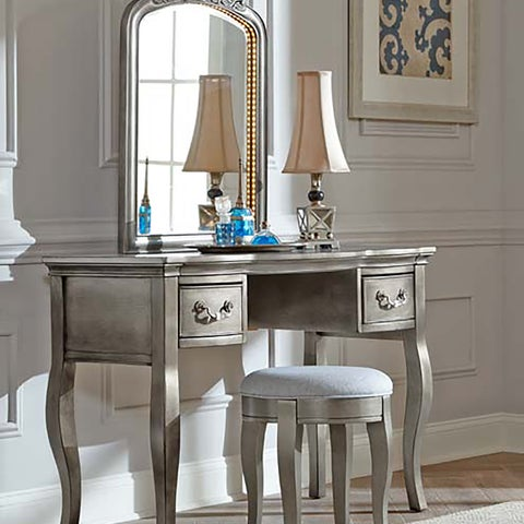 NE Kids Kensington Antique Silver Writing Desk with Vanity Mirror & Stool