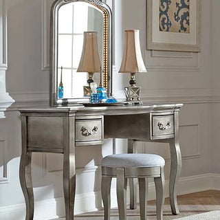 Kensington Antique Silver Writing Desk With Vanity Mirror