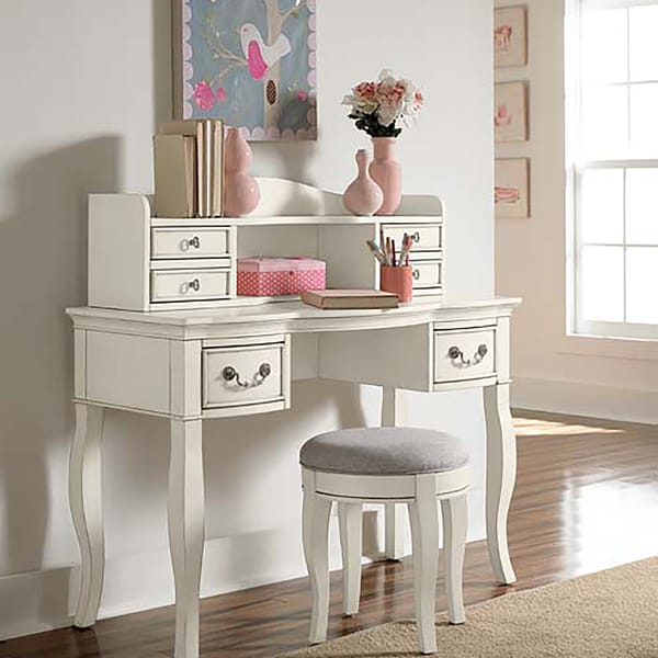 Kensington Antique White Wooden Writing Desk with Hutch - Shop Kensington Antique White Wooden Writing Desk With Hutch - Free