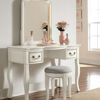 Kensington Antique White Wood/Veneer Writing Desk with Vanity Mirror & Stool