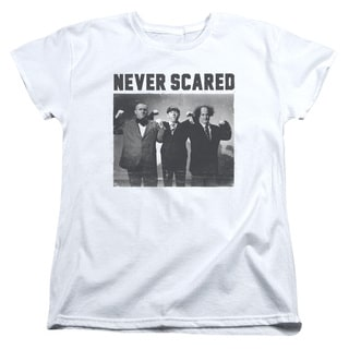 Three Stooges/Never Scared Short Sleeve Women's Tee in White