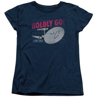 Star Trek/Boldly Go Short Sleeve Women's Tee in Navy