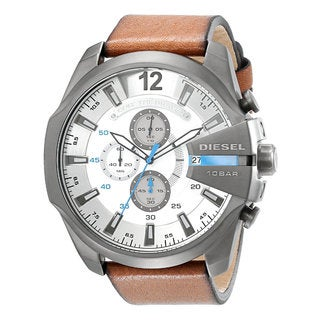 Diesel Men's DZ4280 Brown Leather Strap/White Dial Stainless Steel Quartz Watch