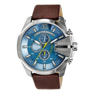 Diesel Men's Mega Chief Brown Leather Analog Watch