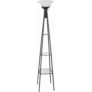 Coaster Company Black Metal and Glass Floor Lamp with Shelves