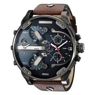 Diesel Men's DZ7314 'Mr. Daddy 2.0' Chronograph 4 Time Zones Brown Leather Watch