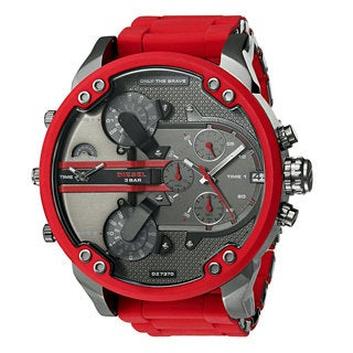 Diesel Men's Mr. Daddy 2.0 DZ7370 Red Stainless Steel Case Chronograph Watch with Silicone Strap
