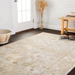 "Microfiber Transitional Ivory Distressed Floral Rug - 6'7"" x 9'2"""