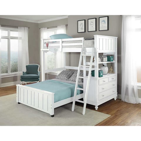 Hillsdale Kids and Teen Lake House Full Loft Bunk Bed with Full Lower Bed, White
